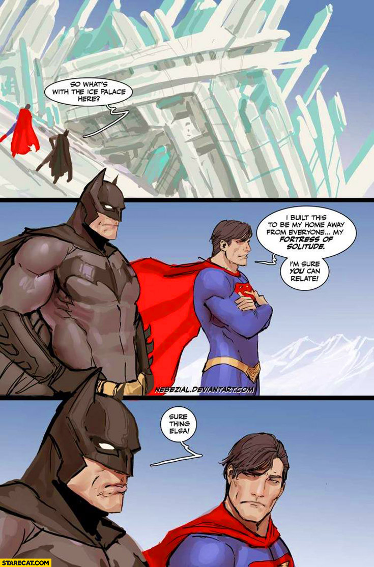 Superman Batman ice palace fortress of solitude I'm sure you can relate sure thing Elsa