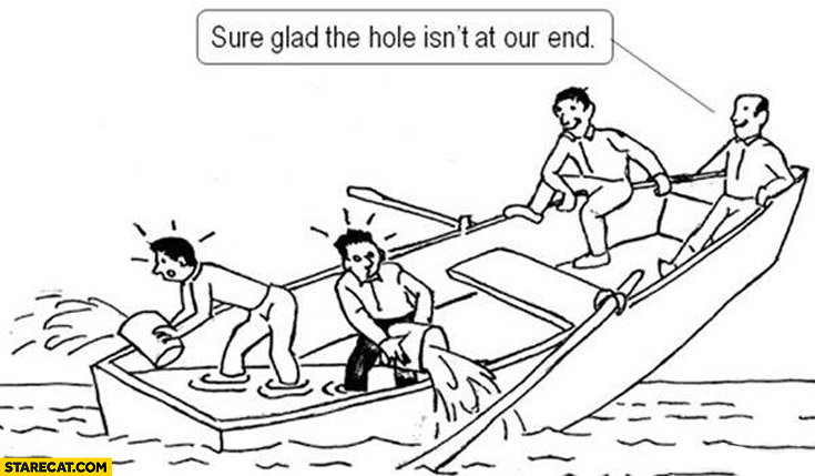 Sure glad the hole isn't at our end sinking boat