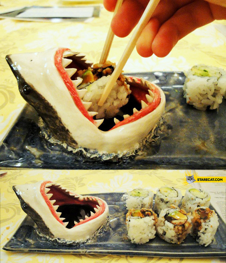 Sushi sauce container shark