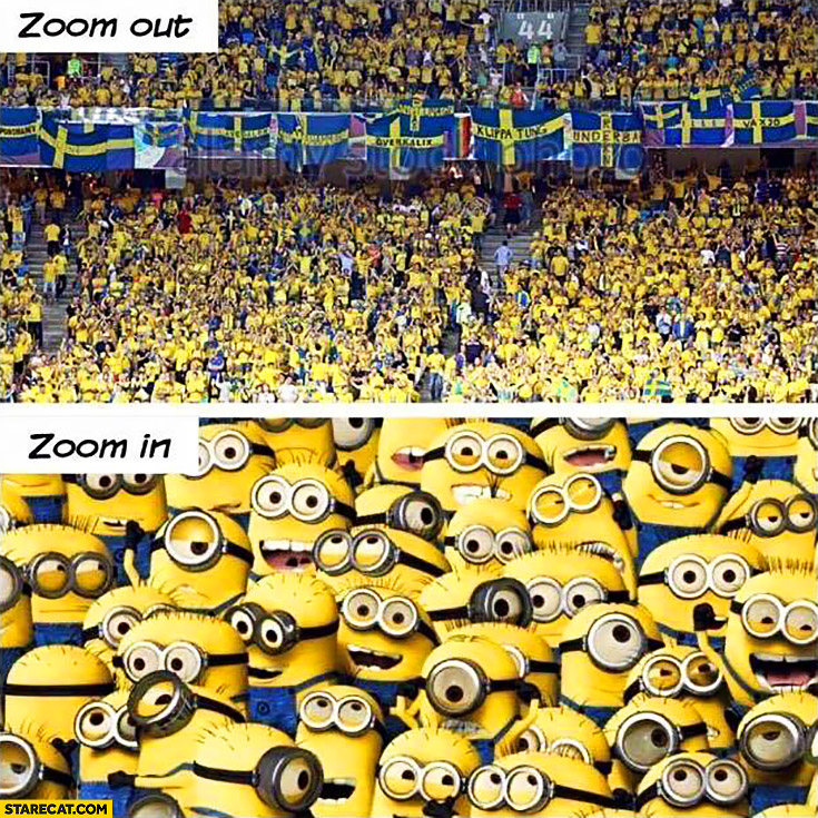 Swedish football fans Minions zoom out, zoom in