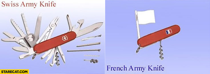 Swiss army knife vs French army knife white flag