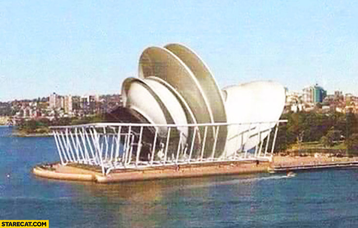 Sydney opera building made of dishwasher plates