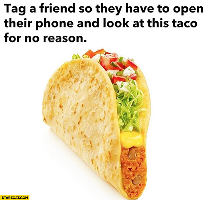 Tag a friend so they have to open their phone and look at this taco for no reason