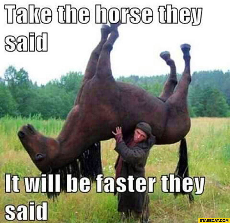 Take the horse they said it will be faster they said
