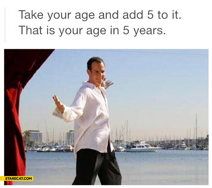 Take your age and add 5 to it that is your age in 5 years