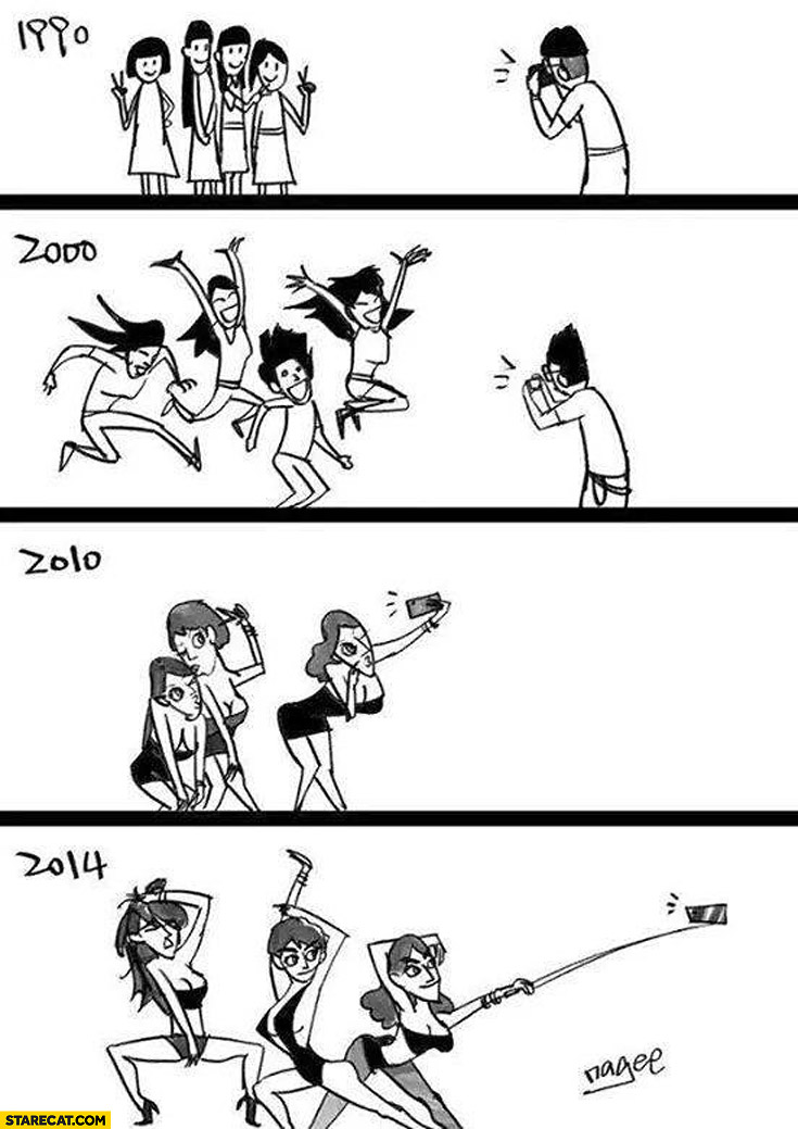 Taking photo then vs now selfie