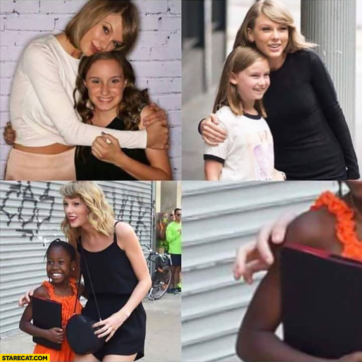 Taylor Swift hugging white girl afraid to touch black girl