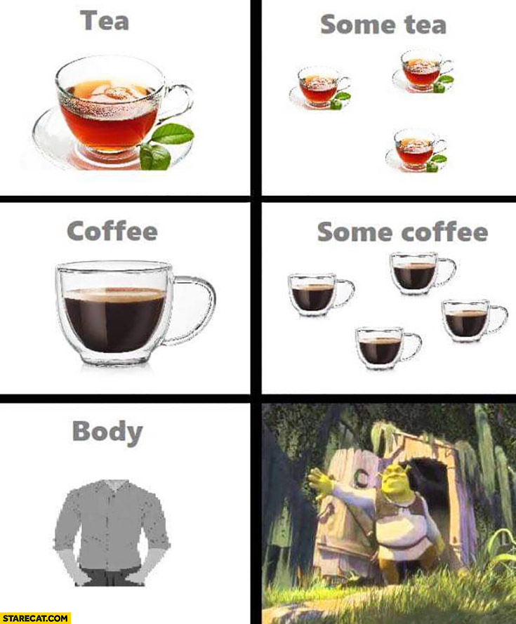 Tea, some tea, coffee, some coffee, body, somebody Shrek