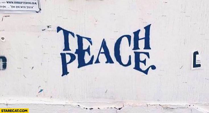 Teach peace creative lettering