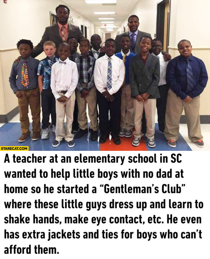 Teacher elementary school in SC started Gentleman's Club for little boys with no dad