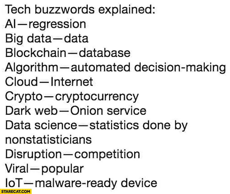 Tech buzzwords explained: AI = regression, big data = data, blockchain = database, cloud = internet, disruption = competition, iot = malware ready device