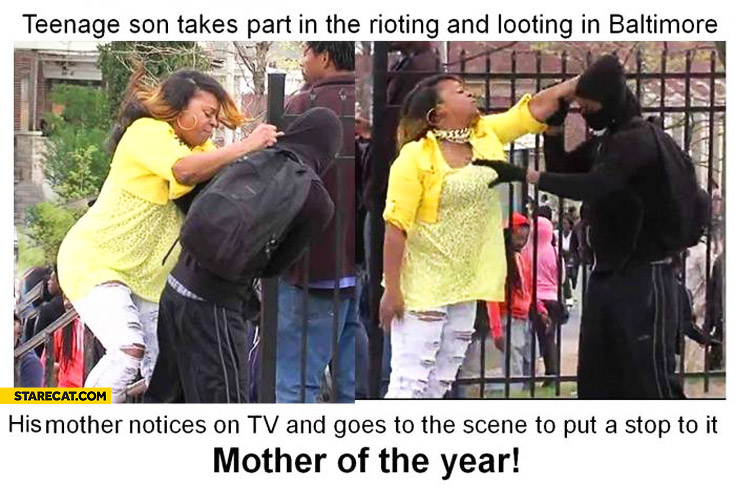 Teenage son takes part in rioting in Baltimore mother of the year stops him