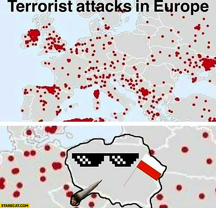 Terrorist attacks in Europe map Poland thug life no attacks