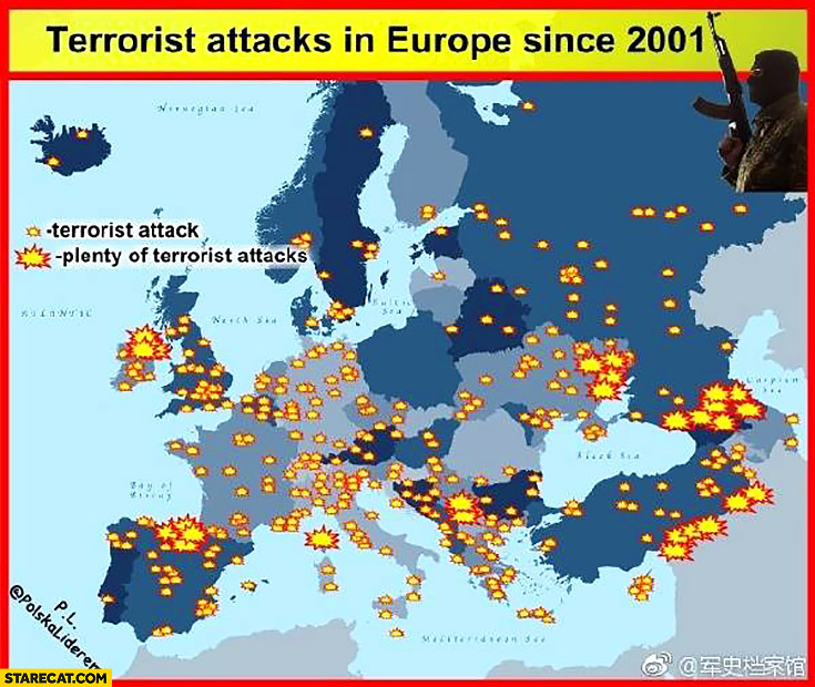 Terrorist attacks in Europe since 2001 infographic map
