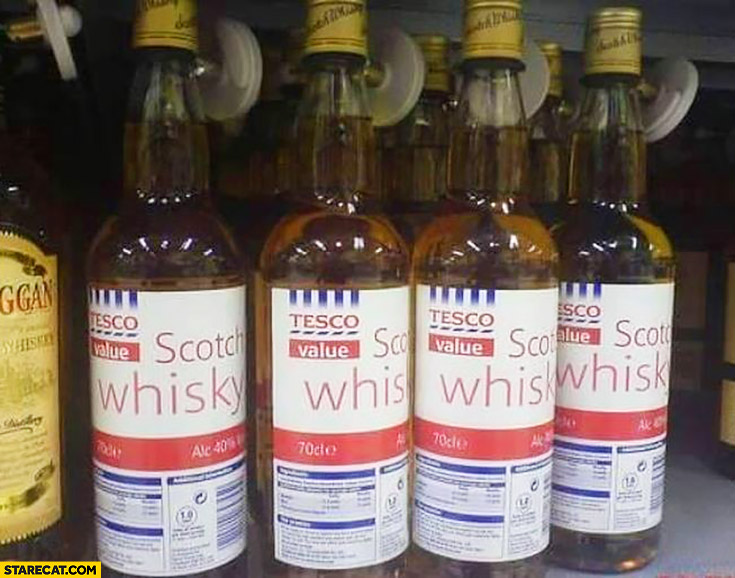 Tesco value scotch whisky bottles