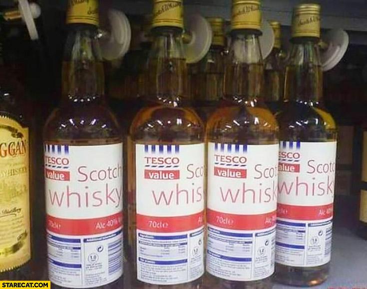 Tesco value scotch whisky bottles