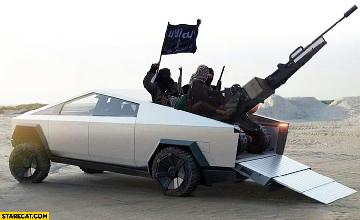 Tesla Cybertruck with ISIS islamic state warriors on it photoshopped
