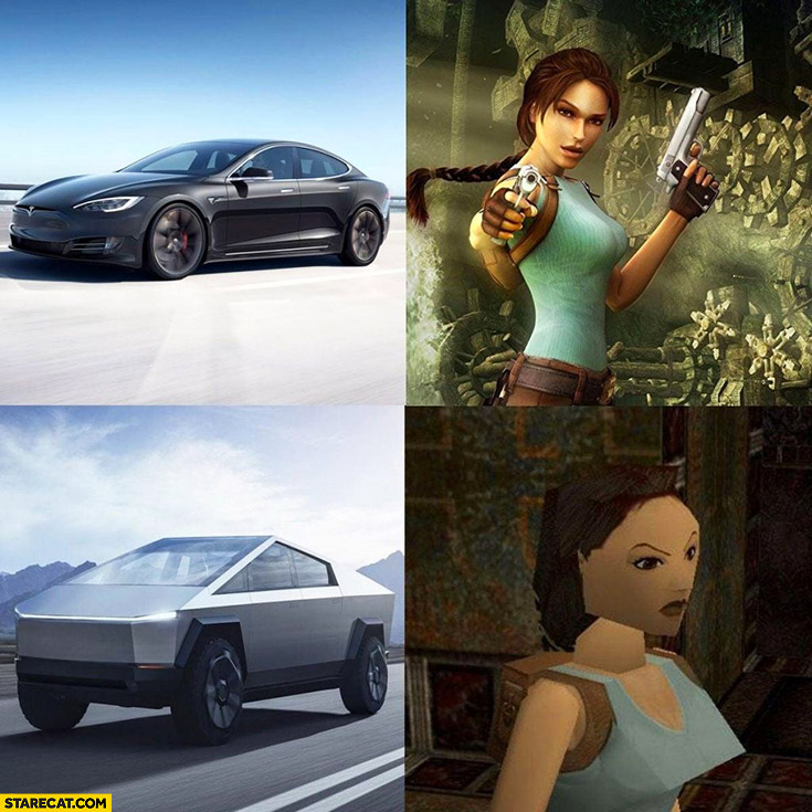 Tesla model S vs Cybertruck looks like old Tomb Raider vs new