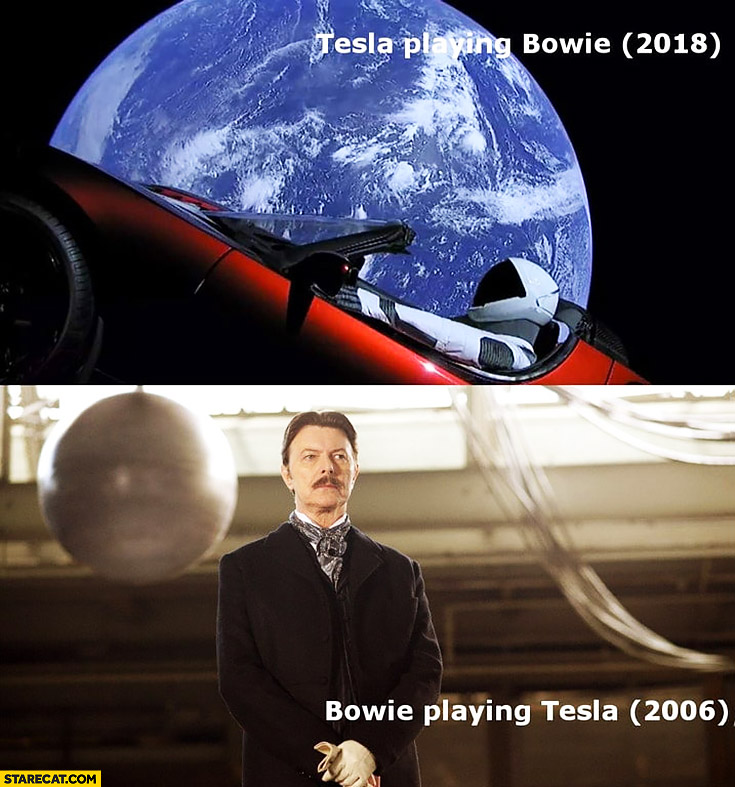 Tesla playing Bowie 2018 in space, Bowie playing Tesla in a movie 2006