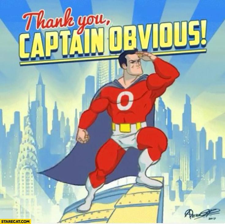 Thank you captain obvious meme