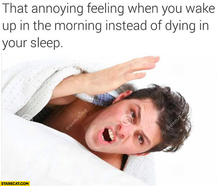 That annoying feeling when you wake up in the morning instead of dying in your sleep