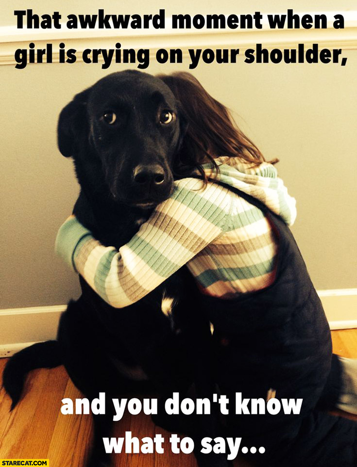 That awkward moment when a girl is crying on your shoulder and you don't know what to say. Dog