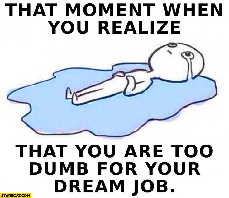 That moment when you realize that you are too dumb for your dream job crying meme