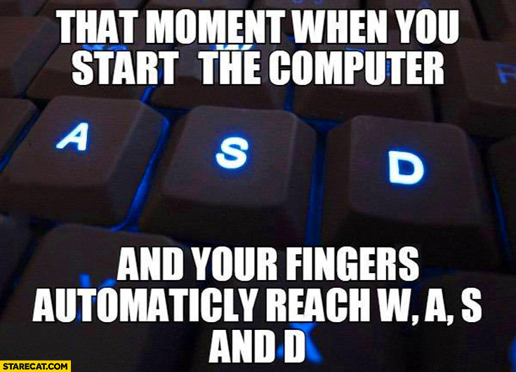That moment when you start the computer and your fingers automaticly reach W A S D keys