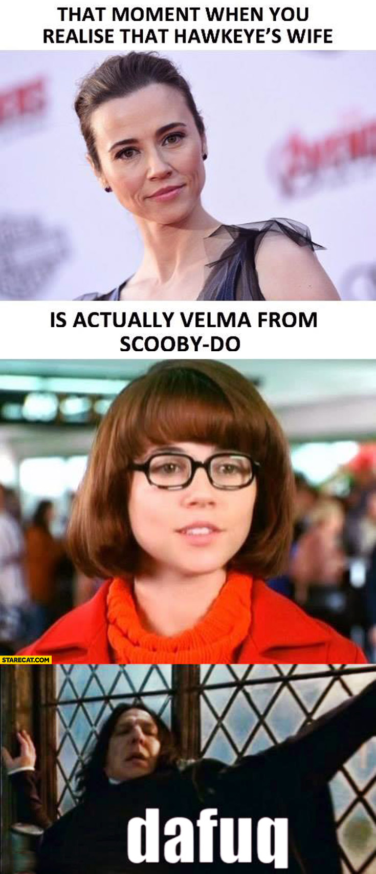 That moment you realise that Hawkeye's wife is actually Velma from Scooby-Doo