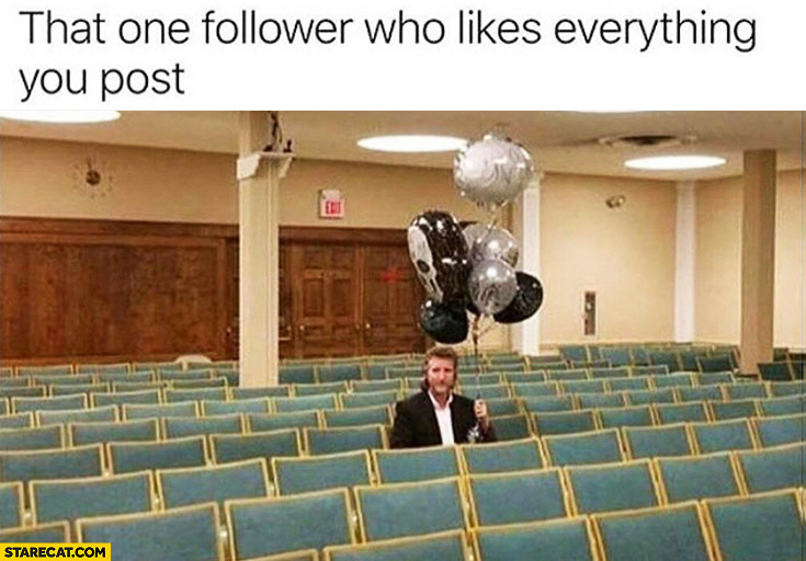 That one follower who likes everything you post. Empty audience man with balloons
