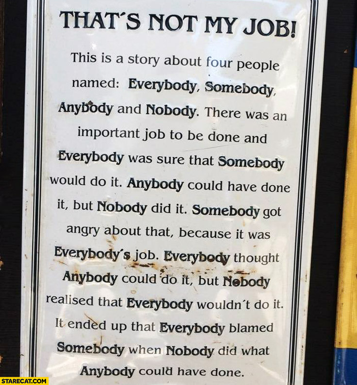 That's not my job everybody somebody anybody nobody