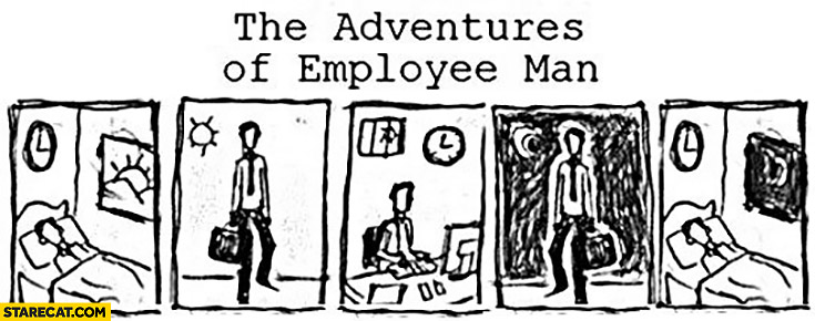 The adventures of employee man comic trolling