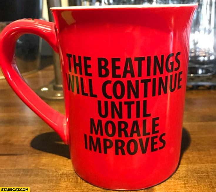 The beatings will continue until morale improves mug quote