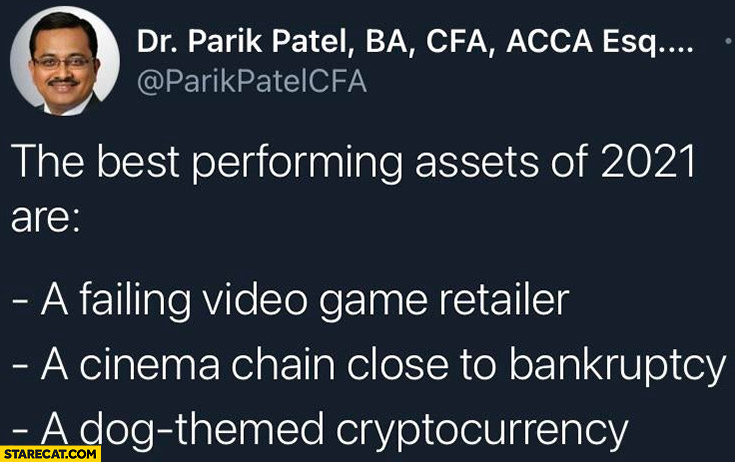 The best performing assets of 2021 are a failing video game retailer, a cinema chain close to bankruptcy, a dog themed cryptocurrency