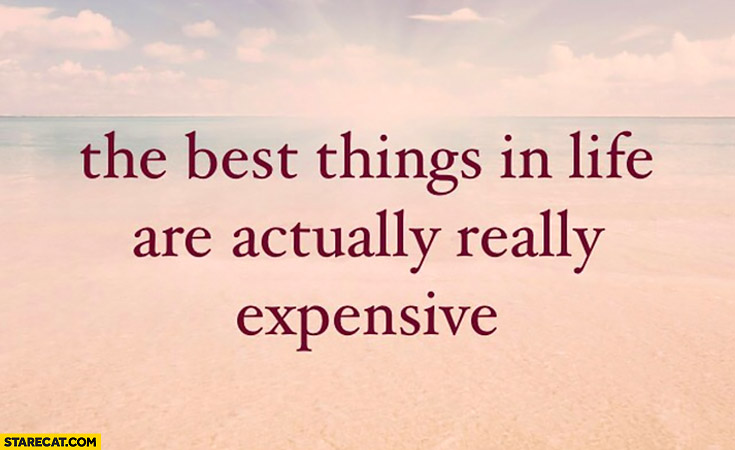 The best things in life are actually really expensive inspiring quote