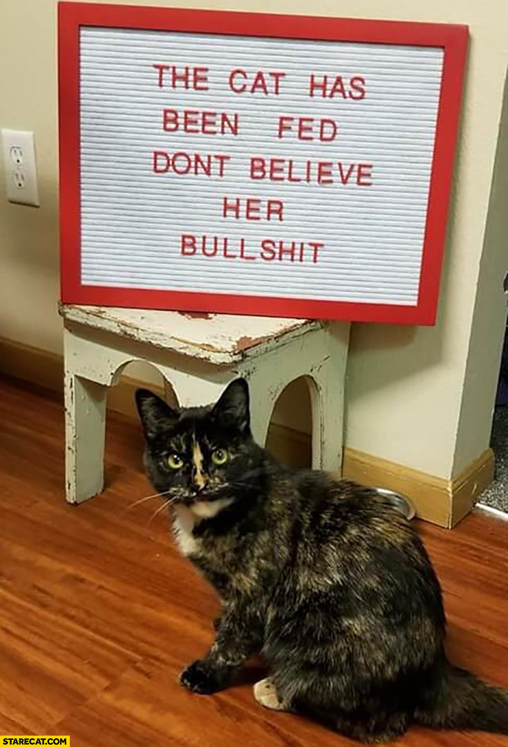 The cat has been fed, don't believe her bullshit sign