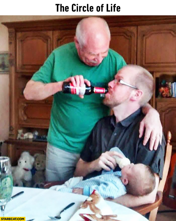 The circle of life: dad feeding with beer his son, which is feeding his son with milk