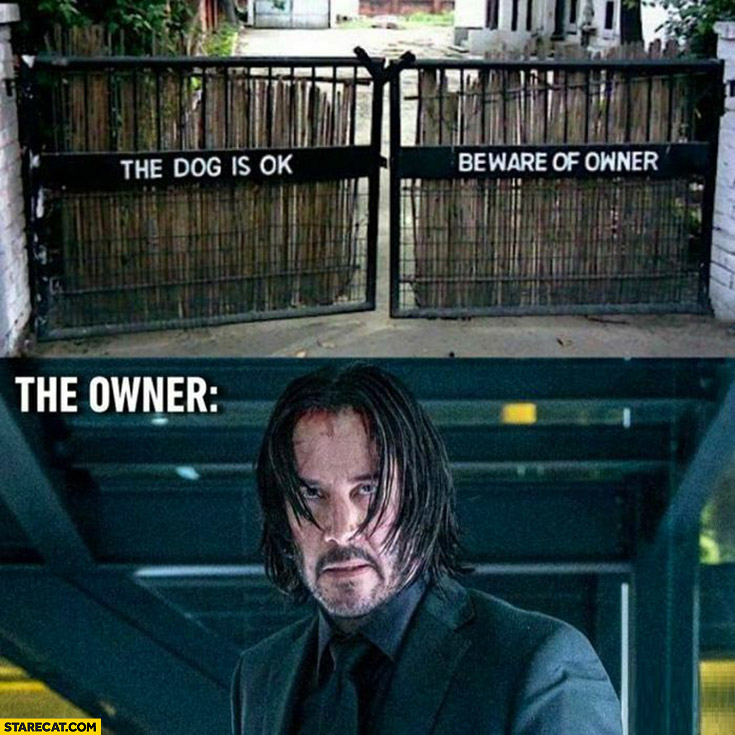 The dog is ok beware of owner, the owner is John Wick