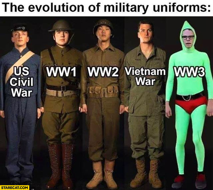 The evolution of military uniforms US civil war, WW1, WW2, Vietnam War, WW3