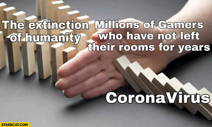 The extinction of humanity by coronavirus stopped by millions of gamers who have not left their room for years