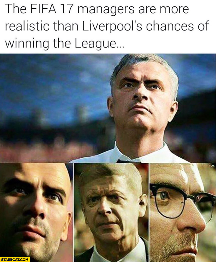 The FIFA 17 managers are more realistic than Liverpool's chances of winning the league