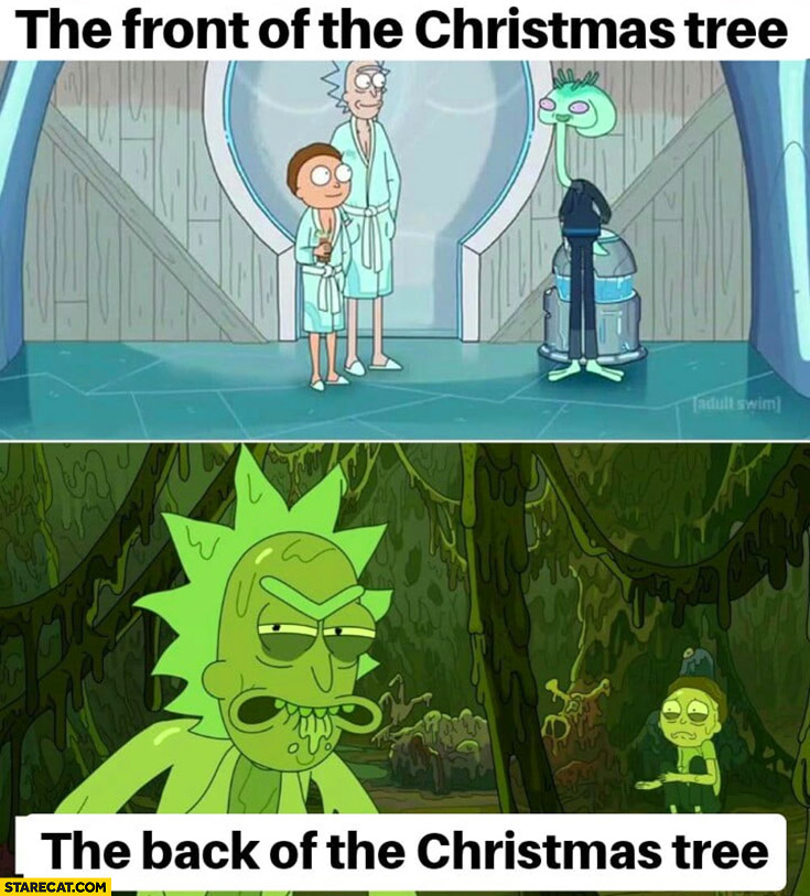 The front of the christmas tree vs the back of the christmas tree