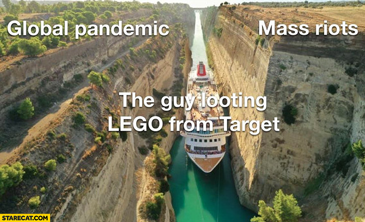 The guy looting LEGO from Target like ship between global pandemic and mass riots