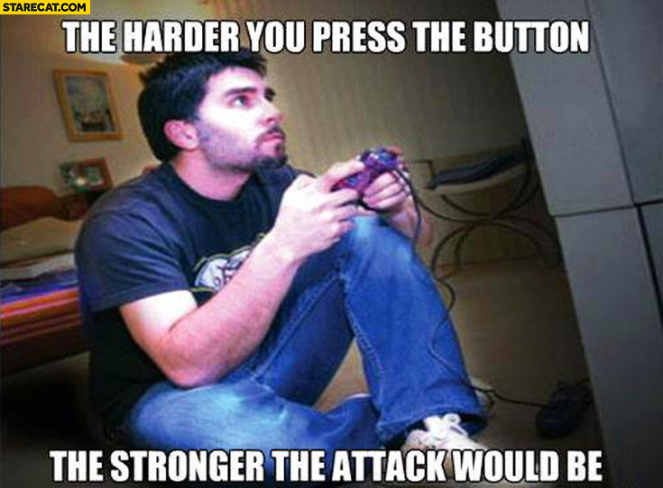 The harder you press the button the stronger the attack would be