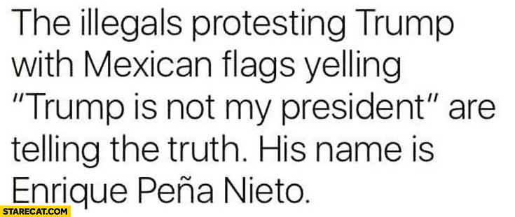 """The illegals protesting trump with Mexican flags yelling """"Trump is not my president"""" are telling the truth, his name is Enrique Pena Nieto"""