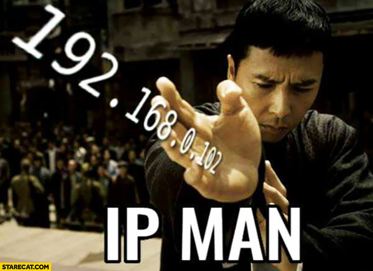 The IP man. IP address in sleeve