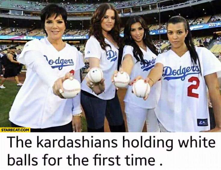 The Kardashians holding white balls for the first time baseball