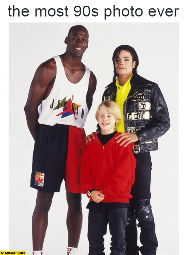 The most 90s photo ever Michael Jackson, Michael Jordan, Macaulay Culkin