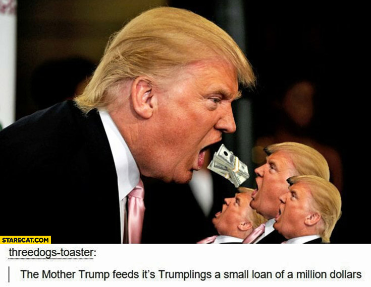 The mother Trump feeds it's trumplings a small loan of a million dollars photoshopped