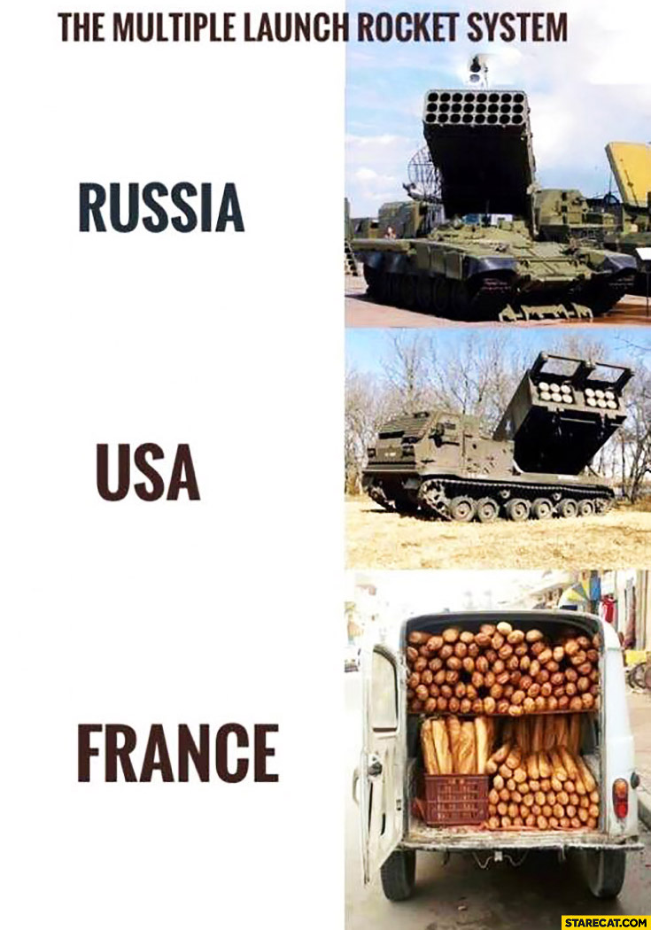 The multiple launch rocket system: Russia, USA, France baguettes comparison